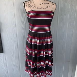 WHBM Strapless Blk w/multi color stripe Dress 8